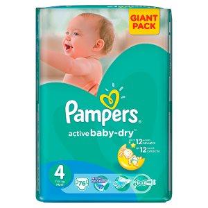 Pampers Active Baby-Dry Dětské jednorázové pleny 4 maxi 76 ks Tesco