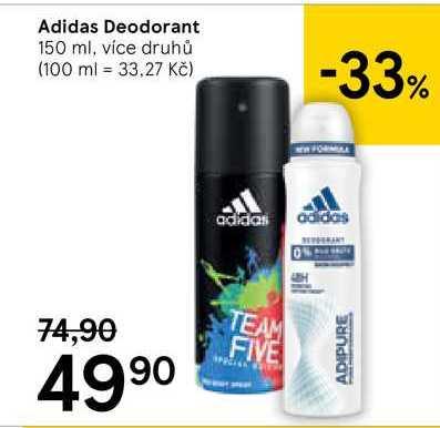 Adidas tělový deodorant 150ml, vybrané druhy