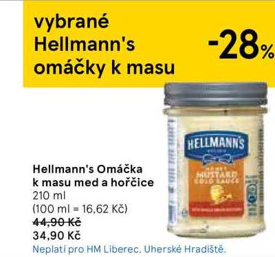Hellmann's Omáčka k masu med a hořčice, 210 ml